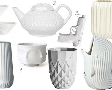 Facettenreich: Weiße Keramik mit Knick