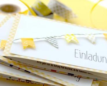 DIY // einladungskarte mit wimpelkette aus washi tape + freebie