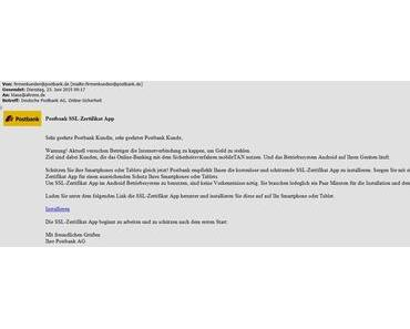 Postbank-Email mit mTAN-Trojaner