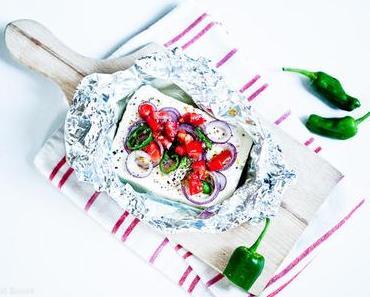 Grillen für Veggies ♥Gebackener Schafskäse mit roten Zwiebeln und Pepperoni