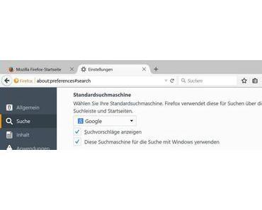 Firefox 40 ändert Standardsuche unter Windows 10