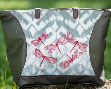 Libellentasche – meine neue Handtasche aus Kunstleder bestickt mit der Pfaff Creative 1.5.