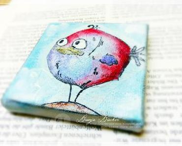 ich hab 'nen Vogel... | Mixed Media Mini Canvas