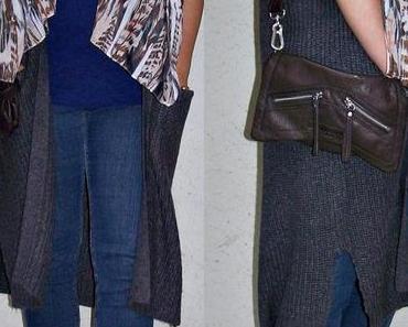 Outfit – Grauer Longcardigan mit Blauen Shirt und Jeans