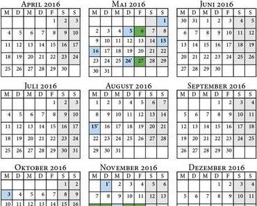 Feiertage 2016 und Brückentage – Dein Urlaubsplaner