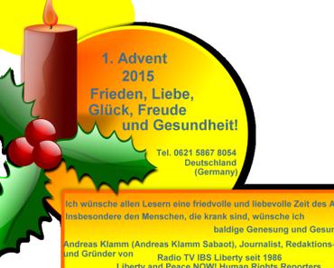 Zum 1. Advent – Glück, Freude und Gesundheit