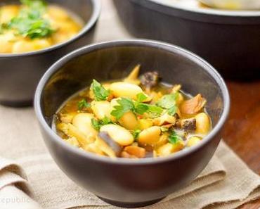 Shiitake Suppe mit Weißen Bohnen und Safran
