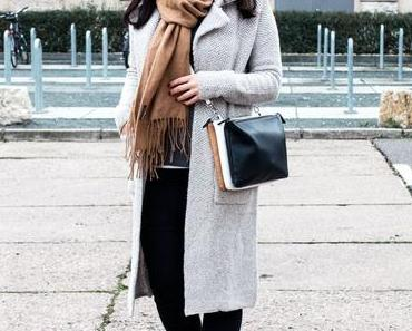 Outfit mit Strick Cardigan, Topshop Jeans und Zign Ankle Boots