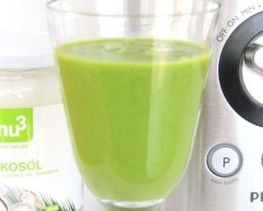 Grüner Smoothie mit Kokosöl von #Nu3