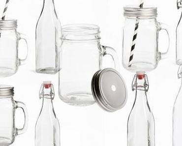 Sommertrend für Haus und Garten: Bügelflaschen und Strohhalmgläser