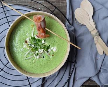 Spinat Gurken Suppe mit Datteln im Speckmantel / Spinach Cucumber Soup