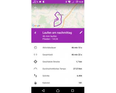 Vegleich zwischen Runtastic, Google fit und Lifelog