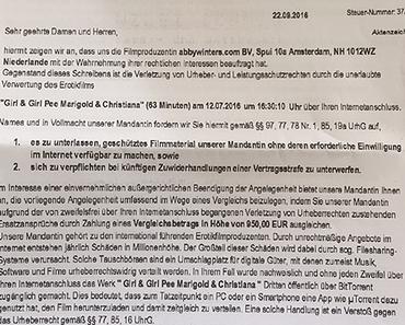 Fake-Abmahnungen von Berliner Kanzlei Schmidt