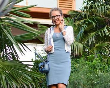 Outfit: Light Blue Dress, Michael Kors Bag and T-Strap Sandals at Hotel Hohenwart, South Tirol
