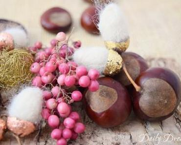 Glänzende Filzeicheln – elegante Herbstdeko