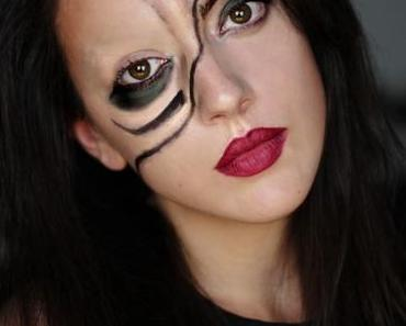 2 Last-Minute Halloween Looks - The Half-Face Girl & Splattered nails