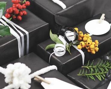 Weihnachtsgeschenke verpacken Ideen - Edel in Schwarz