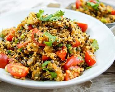 Linsen Quinoa Salat mit Aubergine