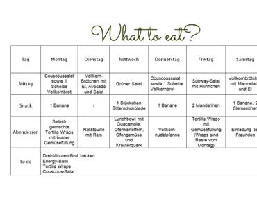 Clean Eating Wochenplan KW 2