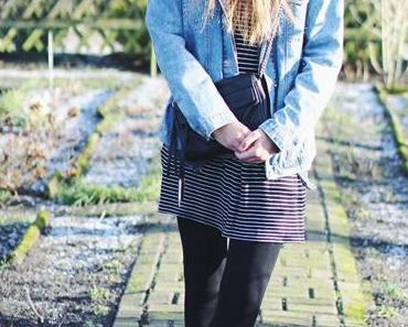 OOTD: Jeans Jacket + Striped Dress