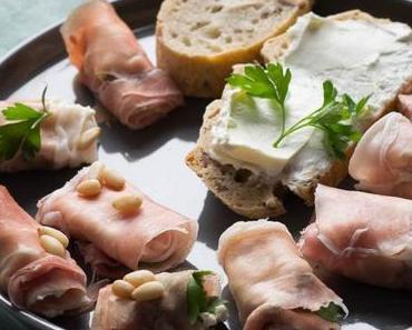Leckeres Haselnuss Ciabatta mit Parmaschinken Röllchen