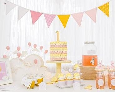 Ein himmlischer 1. Geburtstag in Zuckerlrosa & Zitronengelb