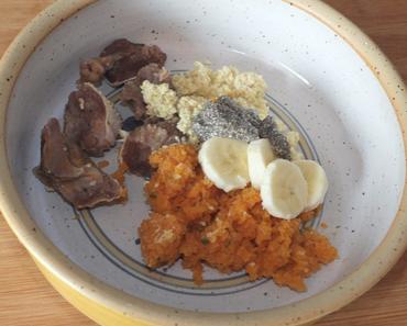 Rinderkopffleisch an Hirseflocken mit Spargel-Möhren-Gemüse