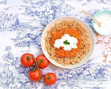 [vegan] Lieblingsessen: Linsenbolognese mit Minzjoghurt