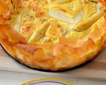 Spargel-Quiche mit Huhn und Yufkateig