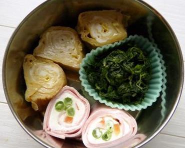 Bento mit Tamagoyaki, Schinkenröllchen und Knoblauchspinat