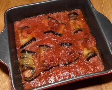 Auberginen-Rouladen mit Tofu-Mozzarella-Füllung  (lacto-vegetarisch)