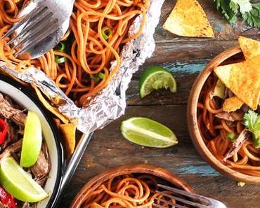 Mexican shredded Beef mit Chili-Knoblauch Spaghetti und Nachos {enthält Werbung für Birkel}