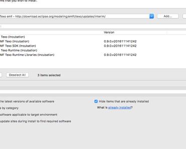 Texo und EMF mit Diagram Editor läuft auch mit Eclipse Oxygen 4.7 auf Mac OS X