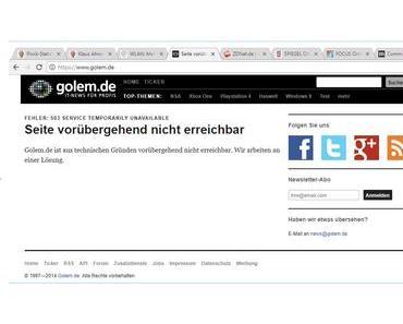 Newsdienst Golem seit Stunden nicht erreichbar
