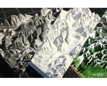 3D-Landkarten mit dem 3D-Drucker erstellen – topographische karte, Miniatur Berg