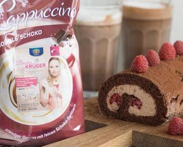 Schoko-Biskuitrolle mit Cappucino-Füllung