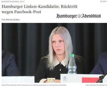 Hamburger Bundestagskandidatin der Linkspartei will Deutsche sterben sehen