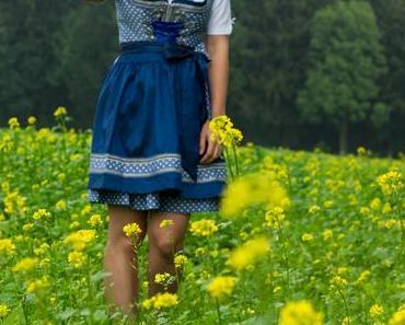 #ootd im Krüger Dirndl in Blau mit Herzerln und Bluse mit tropfenförmigem Ausschnitt auf die Wiesen*