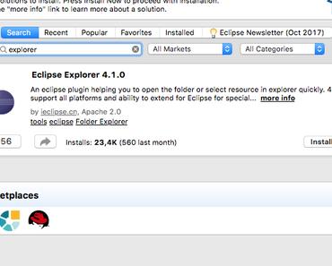 Open Explorer Plug-Ins für Eclipse Oxygen.1A installieren