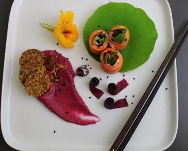 Ein Farbspektakel: Rote-Bete in Fruchtleder & Hummus