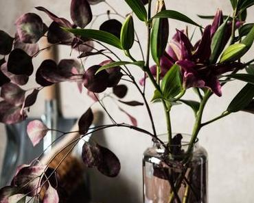Dramatik pur - fuchsiafarbene Lilien und roter Eukalyptus