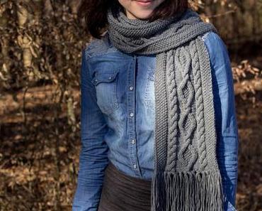 Schal mit Zopfmuster stricken