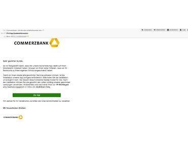 Commerzbank fordert App Installation - sonst Geldstrafe