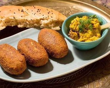 Falafel mit Karottendip und Fladenbrot – vegetarisch arabisch