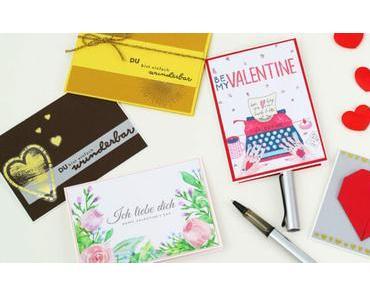 Valentinstags-Karte basteln: 5 Ideen für schöne Karten (inkl. Karten zum kostenlos ausdrucken)