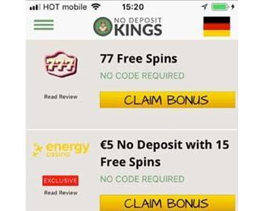 Bewertung der NoDepositKings Online-Casino Bonus App