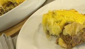 Gratin Kartoffelpüree Hackfleisch Sauerkraut