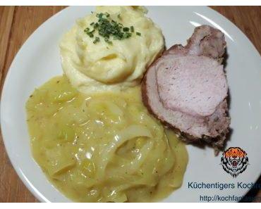 Rosmarinbraten mit Käse-Kartoffelbrei und Rahmlauch
