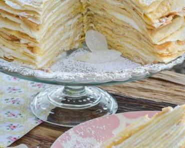 KUCHEN-WUNDERWERK FÜR JUBELTAGE VOLLER LIEBE! Mille Crêpes-Torte mit feiner Zitronencreme und Himbeerchen