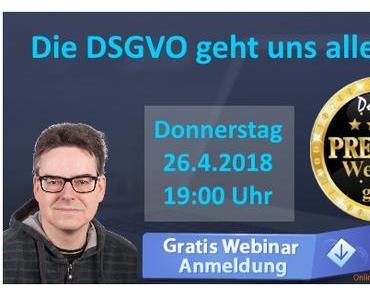 Morgen Abend: Webinar zur DSGVO